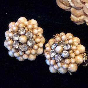 🌞 Vintage Japan Rhinestone Faux Pearl Earrings🌞